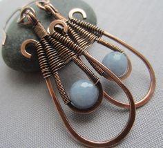 Copper Wire Earrings w. Angelite/ Copper Earrings /Wire by mese9, $32.00
