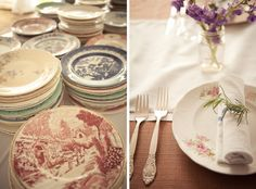 mix matched plates from you name it and style.  Sprig of rosemary to add a little touch.
