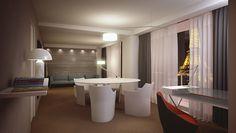 Perspective d'une chambre réalisée pour l'hôtel Paris Pullman Tour Eiffel