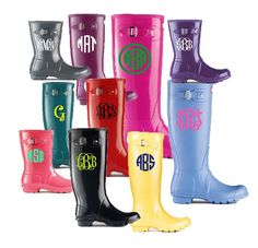Rain Boot Monogram Decals - Set of 2 - 3 inch Decals - Initial Stickers - Perfect for Cars, Rainboots, Laptops on Etsy, $7.95