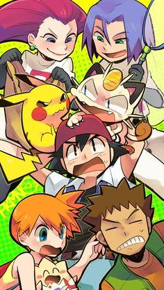 Jesse, James, Pikachu, Meowth, Ash, Misty, and Brock