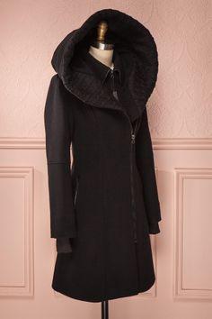 Cygni shawl collar coat in black