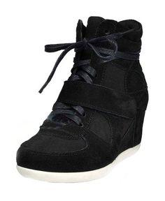 sports shoes ba7e0 bf63b Black Leather Wedge Sneakers Tenis Con Plataforma, Zapatos Para Niñas,  Zapatos Suecos, Tacones