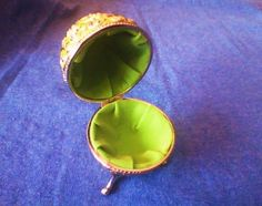 vintage Jeweled Cloisonne Enamel Egg Shaped Ring and Trinket Box with legs