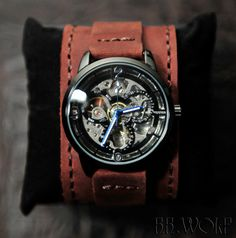 Men's Automatic Skeleton Watch - USA Handmade Leather Straps - SALE - Worldwide Shipping - Steampunk Watch
