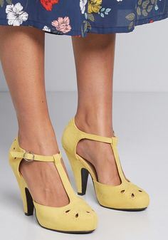 Team these playful yellow T-straps up with your dynamic dance moves and watch as magic unfolds! The tapered heels, teardrop-shaped cutouts with perforated. Metallic Heels, Black Leather Heels, Black Shoes, Women's Shoes, Yellow Shoes Heels, Dress Shoes, Platform High Heels, High Heels Stilettos, Stiletto Heels