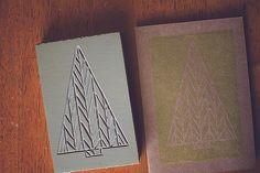 block printing: christmas cards