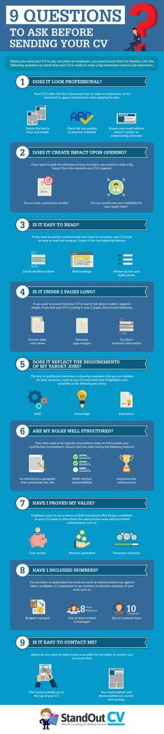 9 Questions to Ask Before Sending Your CV Infographic - http://elearninginfographics.com/before-sending-your-cv-infographic/