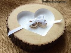Ribbon Tie-Down Rustic Ring Pillow Log Ring Dish Wedding Engraved Heart