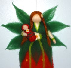 Needle Felted Fairy, Strawberry Flower Fairy, Red Summer Fairy, Waldorf doll, Angel, Blessing, Magic Wool