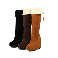 Women's Shoes Round Toe Wedge Heel Knee High Boots More Colors available – USD $ 29.99