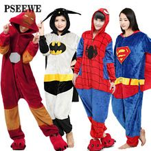 PSEEWE 2016 Novos Adultos Flanela Pijamas All in One Pijama Ferro Superman Spiderman Batman Super hero Adulto Inverno Onesies Pijama