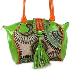 FUNKY+COLOR+BLOCKING+Rhinestone+and+Tassles+Handbag  •SO+FUN!+Brighten+up+the+day!  •Spacious+inside+with+two+inner+pockets+  •Cell+pouch,+back+zipper+pouch  •Measures+13+x+10+x+7  +Available+in+lime+green,+orange,+fuchsia,+purple,+blue+or+black  +