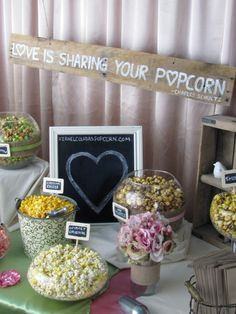 Love is sharing your popcorn - wedding popcorn bar. We love popcorn! Rustic Wedding Showers, Rustic Wedding Reception, Reception Food, Chic Wedding, Our Wedding, Wedding Ideas, Reception Ideas, Wedding Engagement, Wedding Events