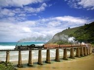 Outeniqua Choo-Tjoe Steam Train Crossing Dolphin Point, Near Wilderness, South Africa The Places Youll Go, Places To See, Beautiful World, Beautiful Places, Wonderful Places, Travel Around The World, Around The Worlds, Places To Travel, Travel Destinations
