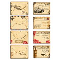 4 mini cartes et enveloppes - Vintage