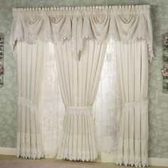 Trousseau Lace Curtains - either ivory or white-also has valance andballoon shades-touch of class.com