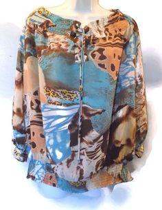 Women's Madison Paige II Tan Brown Blue Lace Up Neckline Peasant Plus Size 2X #MadisonPaigeII #PeasantBoho #Casual