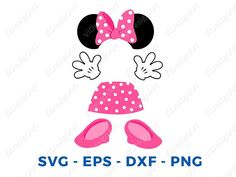 Minnie mouse body parts Svg, Minnie dress, gloves and Minnie ears cut files for Cricut, eps Minnie body vector and Minnie mouse png clip art Mickey Mouse Shoes, Minnie Mouse Pink, Minnie Mouse Party, Mouse Parties, Minnie Mouse Birthday Decorations, Mickey Mouse Birthday, Minnie Rosa Png, Minnie Dress, Birthday Wishes Cards