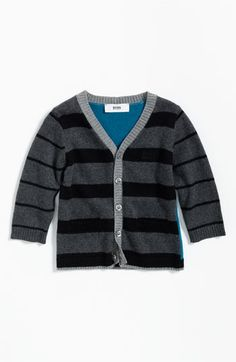 BOSS Kidswear Stripe Cardigan (Infant) available at Nordstrom Toddler Cardigan, Baby Kids, Baby Boy, Boys Sweaters, Cardigans, Little Boy Fashion, Designer Kids Clothes, Striped Cardigan, Top Designer Brands