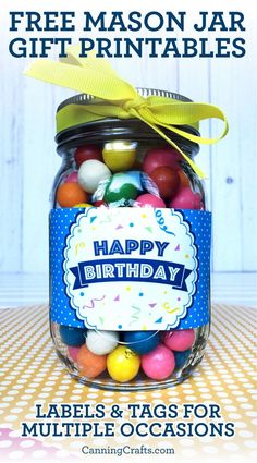 Candy Jar Labels, Mason Jar Candy, Canning Jar Labels, Mason Jar Lids, Gift Labels, Mason Jar Birthday, Graduation Gifts For Boys, Pickled Tomatoes, Congratulations Gift