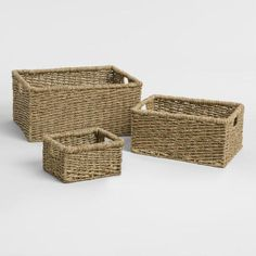 Cost Plus World Market Natural Seagrass Trista Utility Baskets Basket Shelves, Storage Baskets, Bed Storage, Floating Desk, Market Baskets, Affordable Home Decor, Open Shelving, Basket Weaving, Wicker