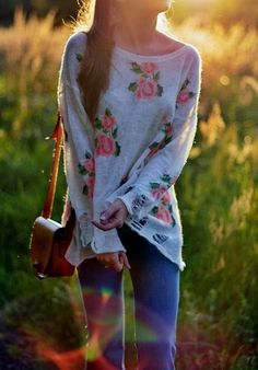 loose floral print sweater. Oooo early spring looks good to me:) great for the weather we have been having!