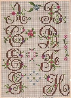Cross Stitch Alphabet Patterns, Cross Stitch Letters, Cross Stitch Charts, Stitch Patterns, Crochet Patterns, Sewing Piping, Embroidery Letters, Plastic Canvas Patterns, Cross Stitching