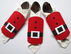 Christmas Santa Cutlery Holder Christmas Decor by DreamsByTheRiver