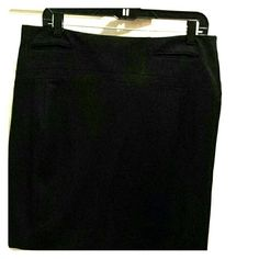 "Black express welted pocket pencil skirt Black welted pocket pencil skirt. Material: Polyester/Rayon/Lycra® spandex   Details: A soft, slightly textured skirt that works double duty. Its sleek tailoring and ultra-fine pinstripe can go professional or all-around dressy, depending on what goes with it. Add our matching jacket for classy suiting style. Front welt pockets. Hidden back zip, back slit. Sits at natural waist. Fully lined.  Approx. Measurements: Waist 18"" Length 19 Express Skirts…"