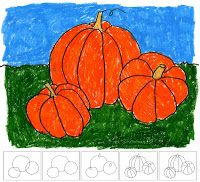 Art Projects for Kids: fall: how to draw a pumpkin.  Use Crayola Twistables Slick Stix--they look and act like oil pastels but without the mess.