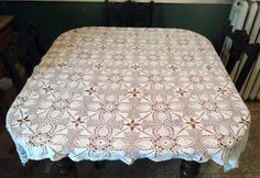Tablecloth Crocheted Tablecloth Vintage Table by treasurecoveally, $28.00