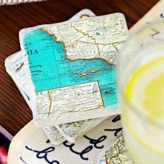 Add character to your kitchen with these colorful map coasters! More DIY kitchen decorating: http://www.bhg.com/kitchen/remodeling/kitchen-projects/easy-diy-kitchen-decorating/?socsrc=bhgpin070413coasters=9