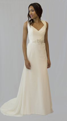 Blush by Hayley Paige style 1355, size 14. RRP: £1500, now £800 - Ivory slik georgette with sheer swiss dot back. Available to try on at Betty Gets Hitched.