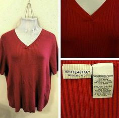 White Stag Womens Red Top Blouse 18W 20W 2X Plus Size Casual cotton blend Nice