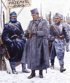 """Austro-Hungarian Army, Carpathian Mountains, Autumn/Winter 1914/15 Austrian Landsturmmann """" This figure represents a soldier of the Austrian k.k. Landsturm, issued with the pre-1908 blue uniform due to shortages of pike-grey field dress at the..."""