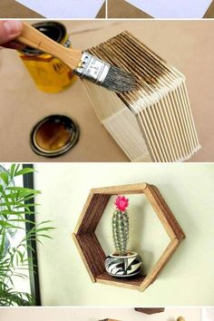 Check out this beautiful popsicle stick hexagon shelf DIY. Check the board for more DIY crafts for your home. Craft Stick Crafts, Decor Crafts, Diy Room Decor, Home Crafts, Diy And Crafts, Arts And Crafts, Wood Sticks Crafts, Diy Crafts For Bedroom, Craft Sticks