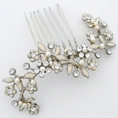 Grass Harp Bridal Hair Comb ~ Paris by Debra Moreland Hair Accessories. Grass Harp bridal hair comb, delicate romantic bridal headpiece of ivory foliage, crystals & pearls.