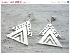 Memorial Day Sale Aztec Earrings, Mexican tribal inspired jewelry, geometric triangle posts, gold silver studs on Etsy, $42.40