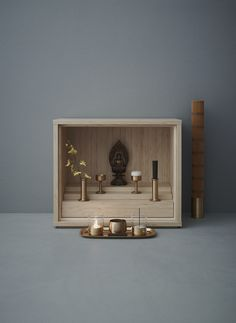 """SHINOBU BUDDHIST ALTAR DESIGN Product Design Center conducted the branding and product design for a new line of Buddhist altars and altar tools for the deceased called """"Shinobu"""". The good design company Tokyo decided the name """"Shinobu"""" for this project. Even in this modern era, there are still numerous products that have yet to be designed, and a Buddhist altar is one of them. Given the modern metropolitan lifestyle in Tokyo, it has become increasingly difficult to afford the space"""