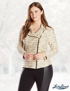 Lucky Brand Women's Plus-Size Marled Moto Sweater