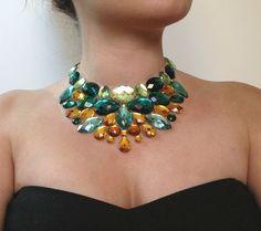 green bib necklace