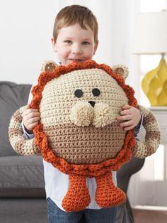 Huggable Lion Pillow | Yarn | Free Knitting Patterns | Crochet Patterns | Yarnspirations