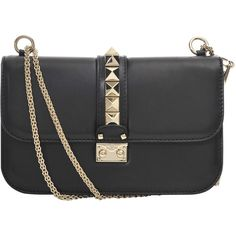 Valentino Lock leather flapbag ($1,700) ❤ liked on Polyvore