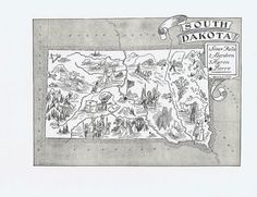 MAP of SOUTH DAKOTA Vintage print, Whimsical, Adorable, Beautifully Illustrated, Sioux Falls, Mt Rushmore, Pierre