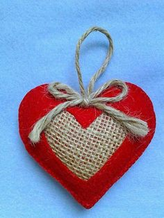 Handmade felt and burlap hearts set of Christmas Tree Ornaments, Valentine's Hearts Valentine Day Crafts, Valentine Heart, Holiday Crafts, Valentines, Felt Christmas Decorations, Felt Christmas Ornaments, Valentine Decorations, Burlap Crafts, Heart Crafts
