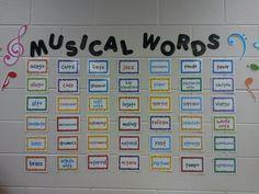 *Love the musical word wall and Notation Constellation* Music Word Walls, Music Words, Music Music, Middle School Choir, High School, Music Bulletin Boards, Primary Music, Elementary Music, Elementary Schools
