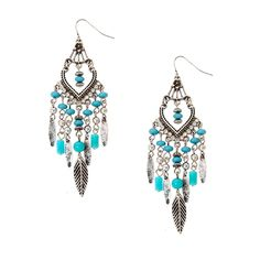 Textured Antique Silver, Crystal and Turquoise Bead Chandelier Drop Earrings with Leaf Fringe