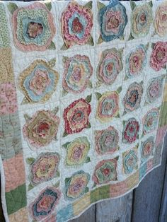This VINTAGE ROSE WORKSHOP is our last summer class and will be onSaturday, August from This is a rag stacked appliqué patte Rag Quilt, Scrappy Quilts, Quilt Blocks, Pink Quilts, Quilting Projects, Quilting Designs, Sewing Projects, Flower Quilts, Quilt Modernen