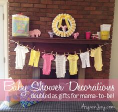 Baby Shower decor which double as gifts for the mama-to-be. Love the diaper wreath!